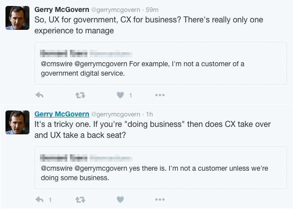 CX UX Gerry McGovern argues there's no difference on Twitter